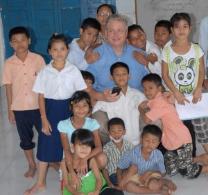 Brother Lyle with 14 of the children at Pure Religion Orphanage, Stoung, Cambodia